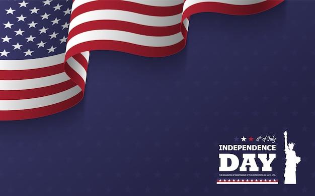 4 juli gelukkige dag van de onafhankelijkheid van amerika achtergrond. standbeeld van silhouet van het vrijheid het vlakke silhouet met tekst en golvende amerikaanse vlag Premium Vector
