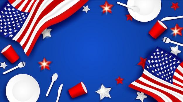 4 juli happy independence day vs. ontwerp met lepel, schotel, vork, mes, servies van glas van papier en amerikaanse vlag ster achtergrond Premium Vector