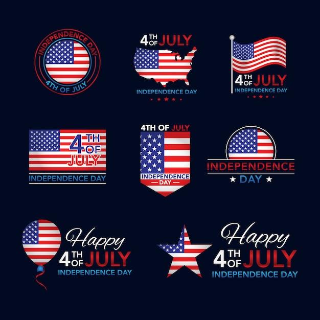 4 juli independence day-insignecollectie Premium Vector