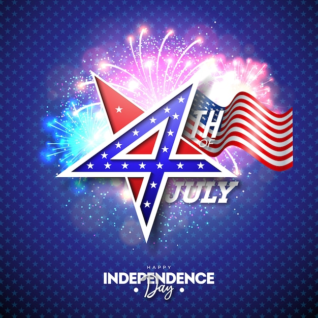 4 juli independence day van de vs vector illustratie Premium Vector