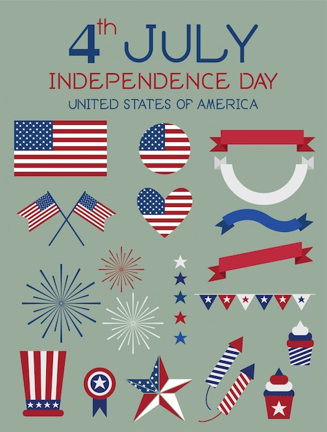 4 juli independence day vector. Premium Vector