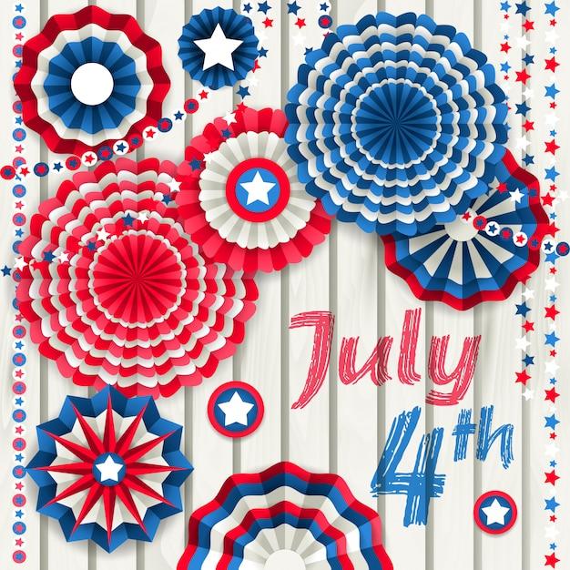 4 juli-kaart met document pinwheels die op houten omheining hangen Premium Vector