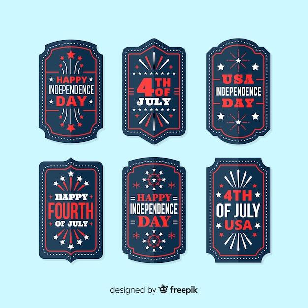 4 juli kentekenverzameling Gratis Vector