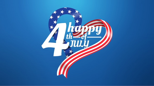 4 juli love shape amerikaanse vlag concept op blauwe achtergrond Premium Vector