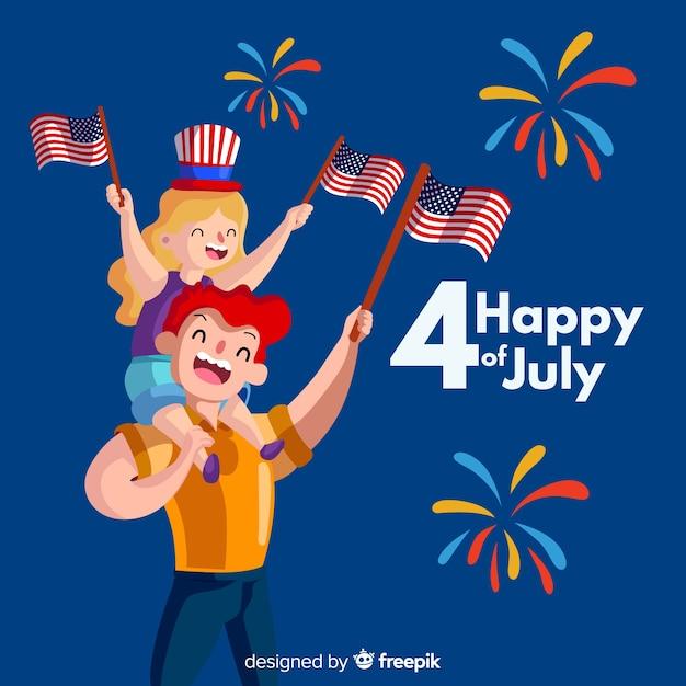 4 juli - onafhankelijkheidsdag achtergrond Gratis Vector