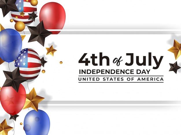 4 juli onafhankelijkheidsdag amerika met realistische ballon Premium Vector