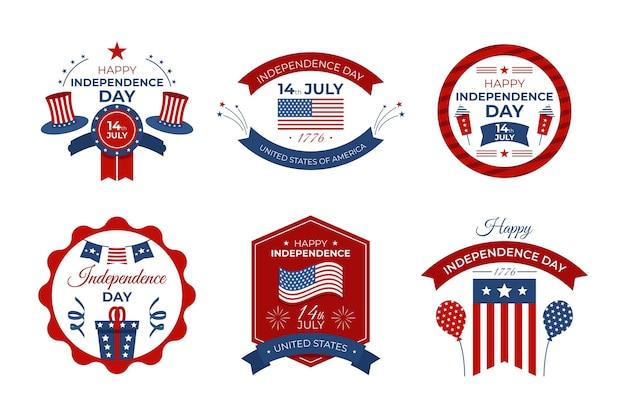 4 juli onafhankelijkheidsdag badges Gratis Vector