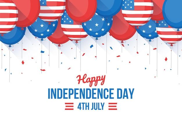 4 juli - onafhankelijkheidsdag ballonnen achtergrond in platte ontwerp Gratis Vector