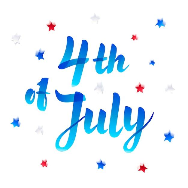 4 juli. onafhankelijkheidsdag belettering met sterren en confetti. marker schetsstijl. Premium Vector