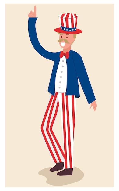4 juli, onafhankelijkheidsdag met oom sam karakterbeeldverhaal. Premium Vector