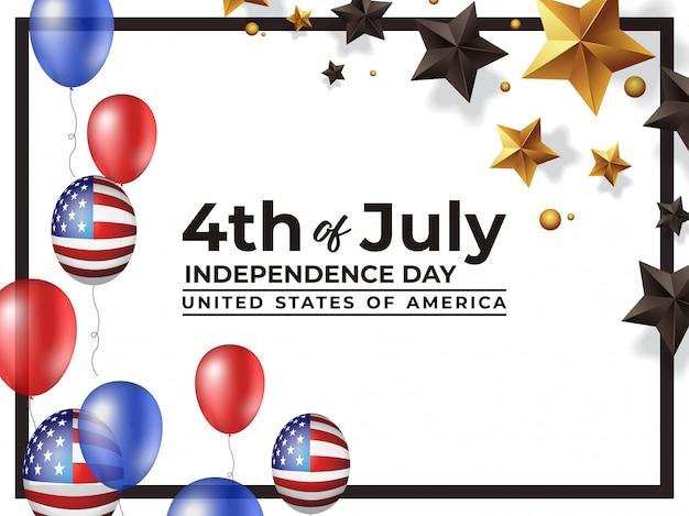4 juli onafhankelijkheidsdag verenigde staten van amerika Premium Vector