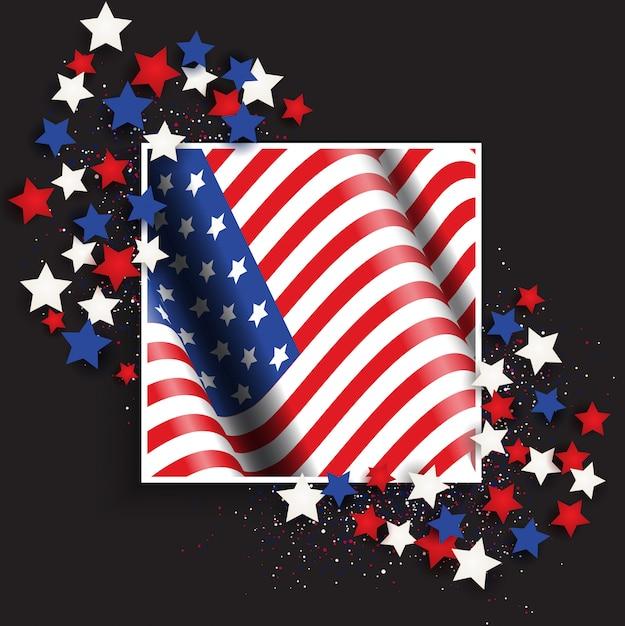4 juli onafhankelijkheidsdag vs met amerikaanse vlag en sterren Gratis Vector