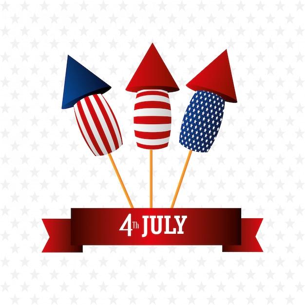 4 juli onafhankelijkheidsdag vs viering Gratis Vector