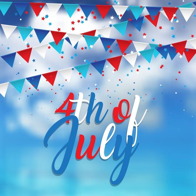 4 juli-ontwerp met confetti en wimpels op blauwe hemel Gratis Vector