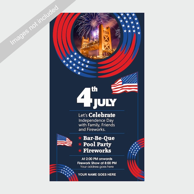 4 juli us independence day uitnodigen sjabloon met bbq, zwembad feest en vuurwerk attractie. Premium Vector