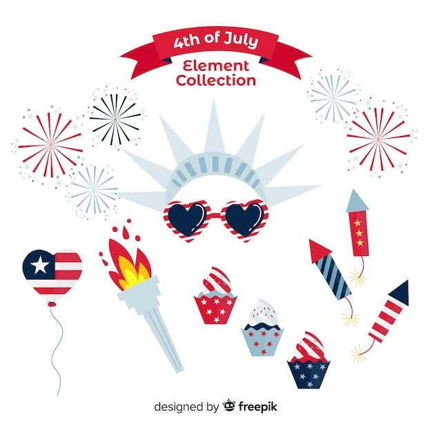 4 juli - verzameling van onafhankelijkheidsdagelementen Gratis Vector