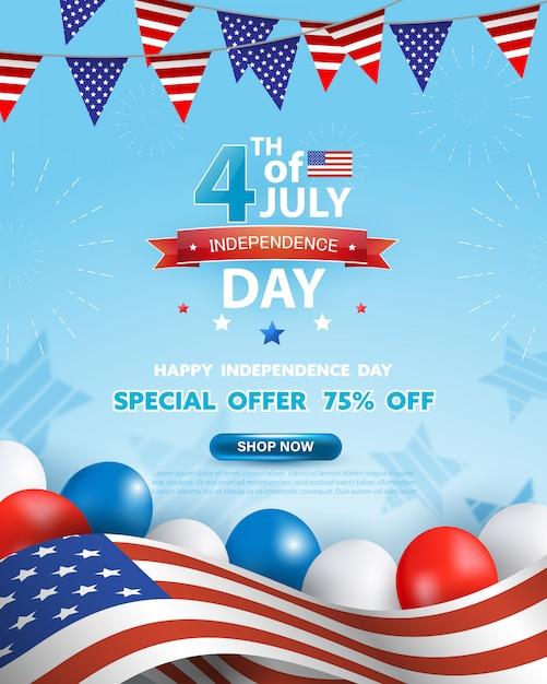 4 juli viering poster. onafhankelijkheidsdag verkoop promotie sjabloon voor spandoek met rode, blauwe, witte ballonnen en wuivende vlag van de verenigde staten op blauwe achtergrond. Premium Vector