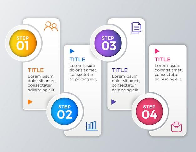 4 stap zakelijke infographic sjabloon Premium Vector