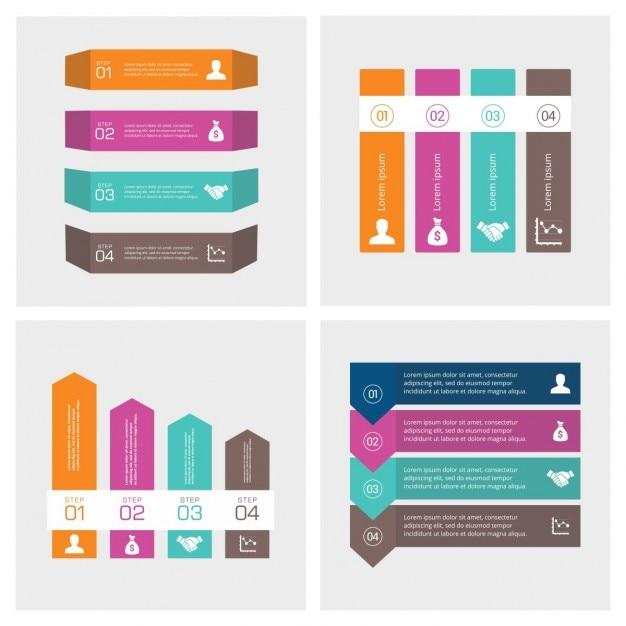 4 stappen infographic Presentatie template Gratis Vector