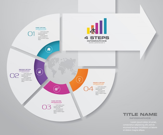 4 stappen infographics element pijl sjabloon grafiek. Premium Vector