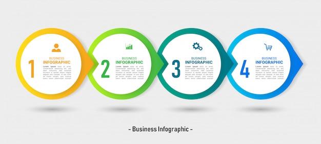 4 stappen tijdlijn circulaire infographic sjabloon. Premium Vector