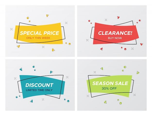 4 trendy platte pastelkleurige rechthoekige stickers Premium Vector