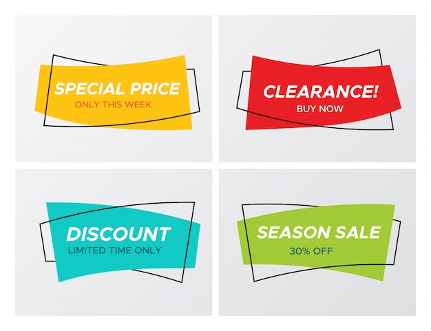 4 trendy platte verkoop levendige kleuren rechthoekige stickers Premium Vector