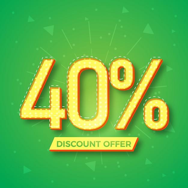 40% korting aanbieding labelontwerp Premium Vector