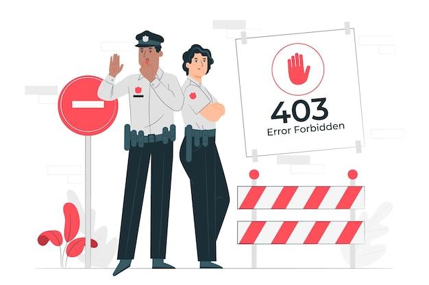403 fout verboden (met politie) concept illustratie Gratis Vector