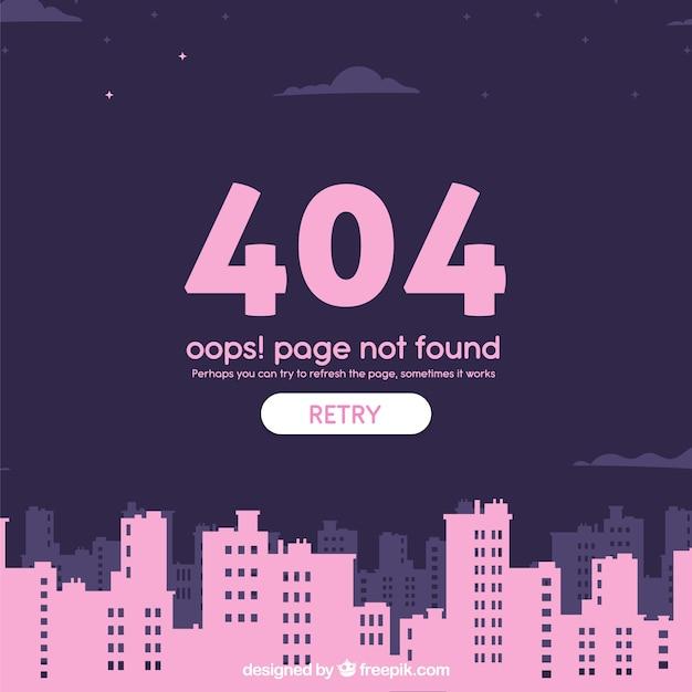 404-fout websjabloon met stad in vlakke stijl Gratis Vector