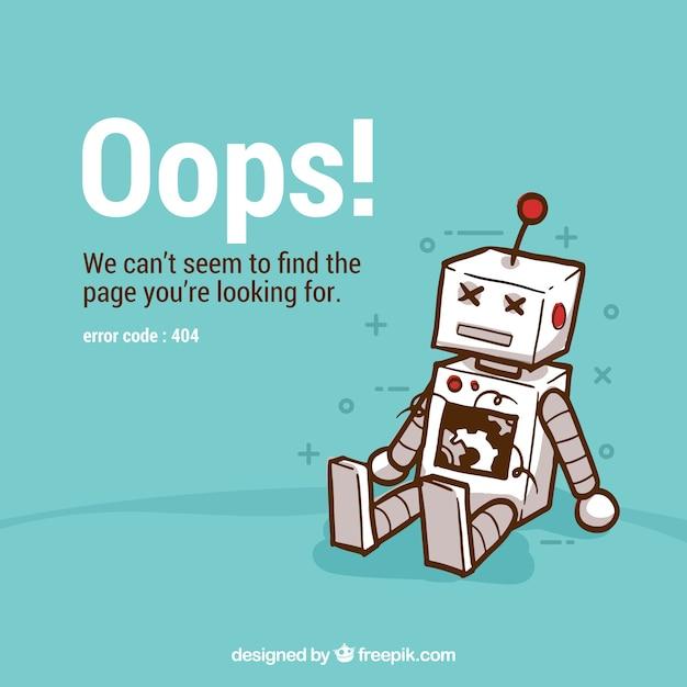 404 foutachtergrond met robot Gratis Vector