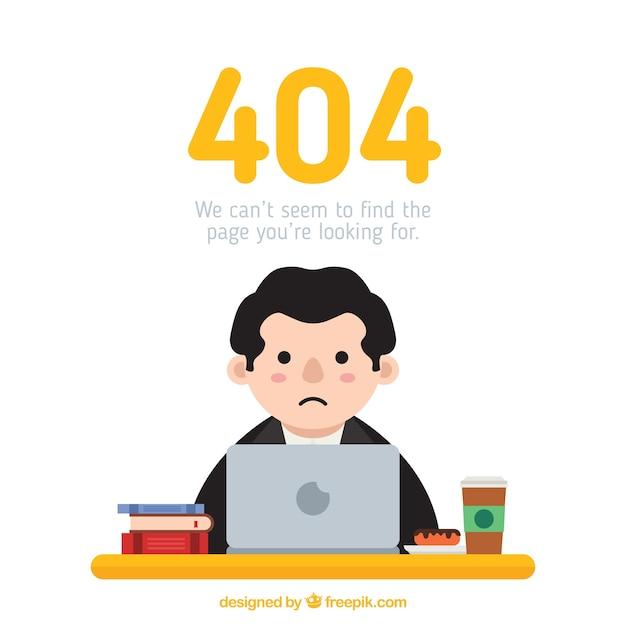 404-foutenconcept met droevige man Gratis Vector