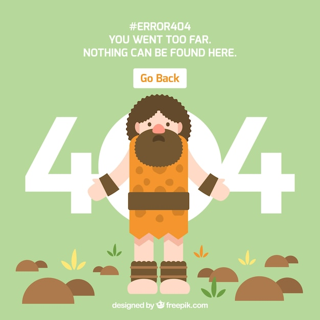 404-foutenconcept met neanderthaler Gratis Vector