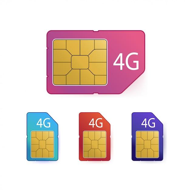 4g sim-kaartenset. symbool voor mobiele telecommunicatietechnologie. Premium Vector