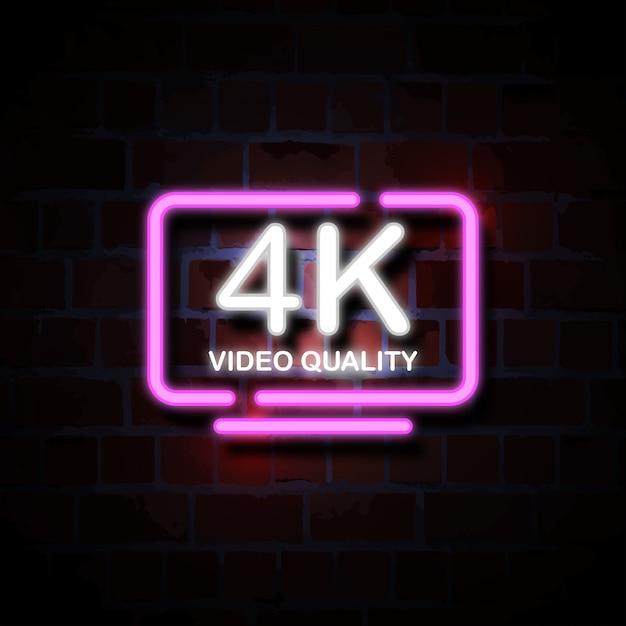 4k smart tv neon stijl teken illustratie Premium Vector