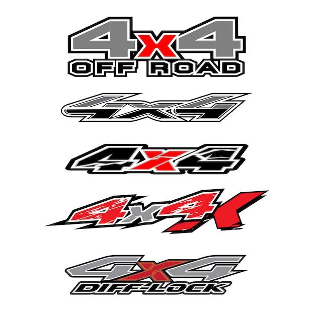 4x4 logo voor 4 wiel aangedreven vrachtwagen en auto grafische vector. ontwerp voor vinylfolie voor voertuigen Premium Vector