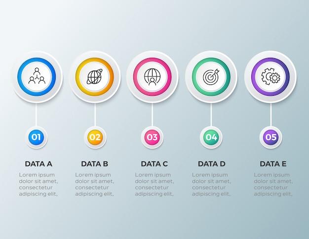 5 stap moderne zakelijke infographic sjabloon Premium Vector