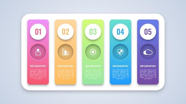 5 stappen business infographic-sjabloon Premium Vector
