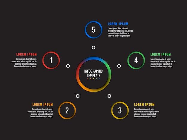 5 stappen infographic sjabloon met ronde papier gesneden elementen op zwart Premium Vector
