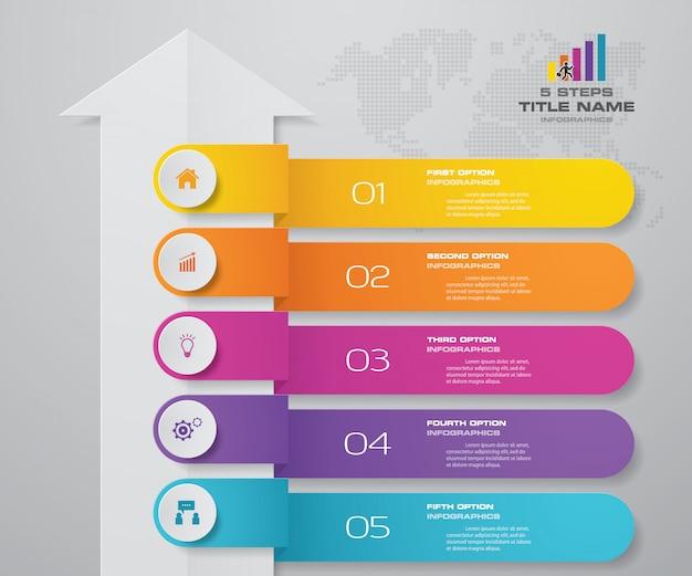 5 stappen infographics element pijl sjabloon grafiek. Premium Vector