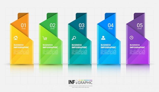 5 stappen infographics-sjabloon Premium Vector