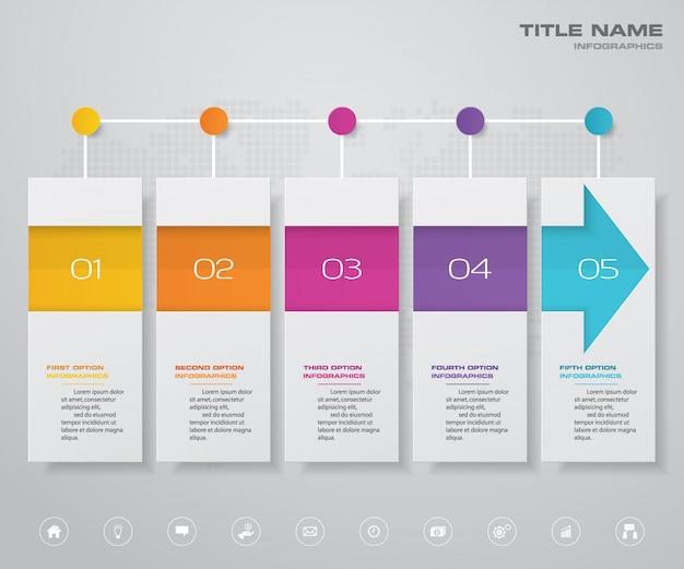 5 stappen pijl tijdlijn grafiek infographic element. Premium Vector