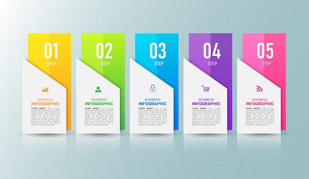 5 stappen tijdlijn infographics ontwerpsjabloon. Premium Vector
