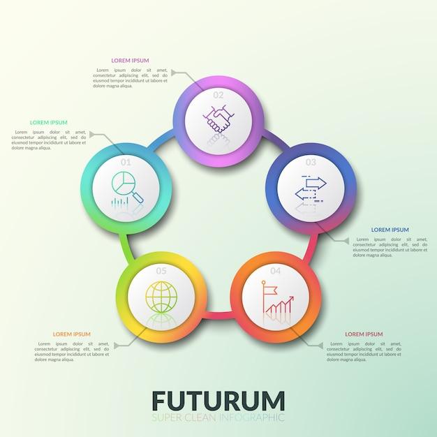 5 verbonden cirkelvormige elementen met getallen, dunne lijnpictogrammen en tekstvakken. ronde grafiek met vijf opties. moderne infographic ontwerplay-out. Premium Vector