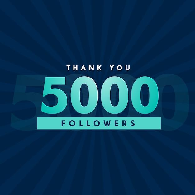 5000 sociale media volgers sjabloon ontwerp Gratis Vector