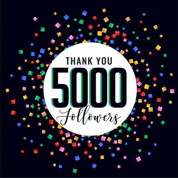 5000 sociale mediale volgers bedankt post Gratis Vector