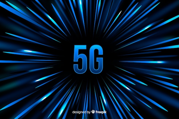 5g concept achtergrond met blauwe snelheid lijnen achtergrond Gratis Vector