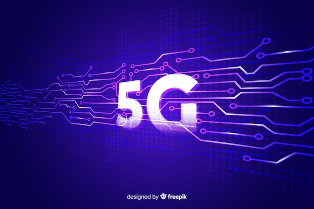 5g concept violette achtergrond Gratis Vector