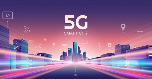 5g draadloos netwerk en smart city-concept. Premium Vector