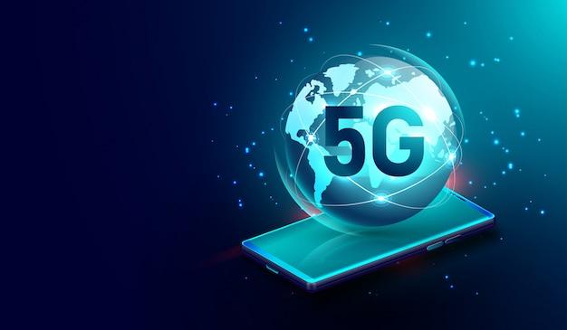 5g draadloze netwerkverbinding op smartphone Premium Vector